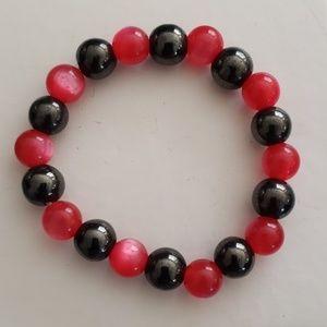 Magnetic hematite pink stone stretch bracelet